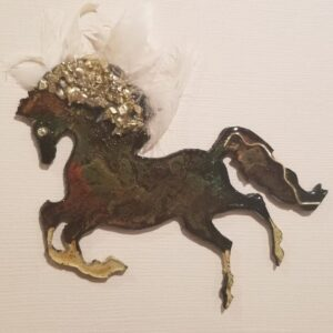 Made in Nevada 3D metal, multi-media horse art piece; Lake Tahoe feathers