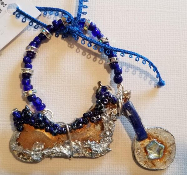 Made in Nevada 3D metal, multi-media motorcycle w/blue & bling beads art piece